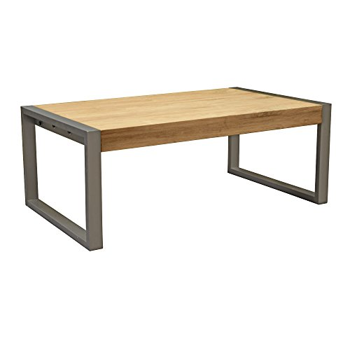 Asta Industrial Modern Solid Teak and Iron Coffee Table, TI-314 (Frame Teak Plantation)