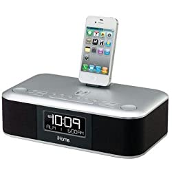 iHome iD95 Stereo System with Dual Alarm FM Clock Radio for iPad/iPhone/iPod (30-Pin, Not Compatible w/iPhone 5/6 or Any Lightning Compatible Models)