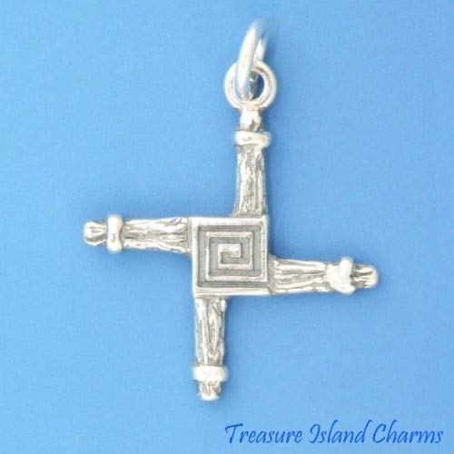 (Irish St Saint Brigid Cross 925 Solid Sterling Silver Charm Pendant Crafting Key Chain Bracelet Necklace Jewelry Accessories)