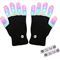Amazer Kids Light Gloves Children Finger Light Flashing LED Warm Gloves with Lights for Birthday Light Party Christmas Xmas Dance Best Great Gifts - Extra a set of Batteries for More Fun-Black