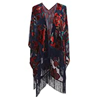 Genovega Floral Burnout Velvet Dress Kimono Cardigan Poncho With Fringe Velvet Shawls Wraps, One Size, 27
