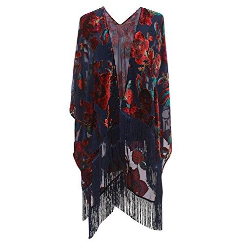 Genovega Floral Burnout Velvet Dress Kimono Cardigan Poncho With Fringe Velvet Shawls Wraps