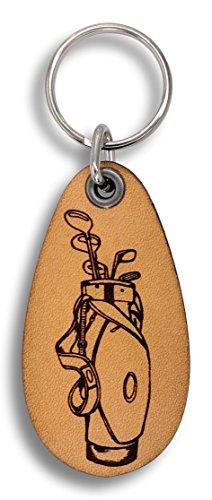 ForLeatherMore - Golf Bag - Genuine Leather Keychain - Golf Key Fob -
