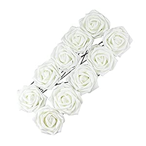 10pcs Classic White Purple Pink Lvory Beige Rose Flowers for Wedding Bridesmaid Bridal Bouquet (White 01) 3