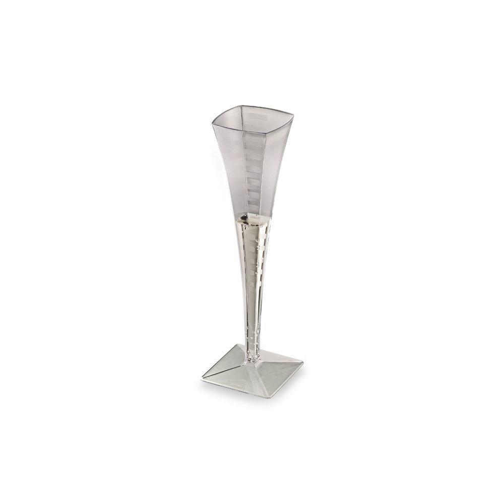 EMI Yoshi Squares Clear Plastic 5 Oz Champagne Glass