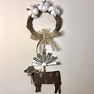 Windmill Decor Farmhouse Cotton Clouds Cow with Bell Floral Arrangement with Burlap Tied with Thick Jute Twine Rope, 16 inches Cottonwood 5