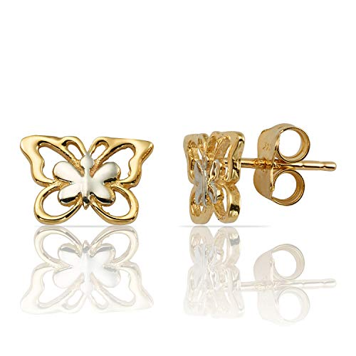 14K Gold Two Tone Yellow & White Double Gold Butterfly Push-Back Stud Earrings