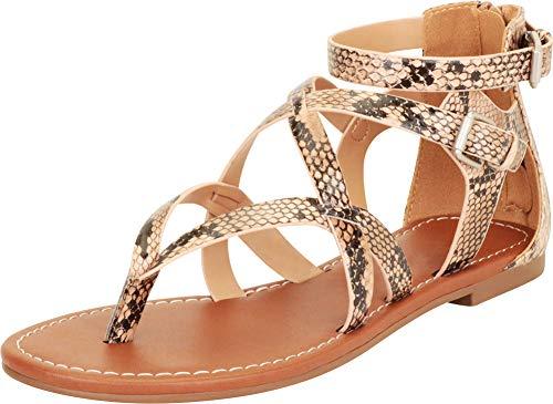 (Cambridge Select Women's Thong Toe Strappy Crisscross Flat Sandal,7.5 B(M) US,Natural Python PU)