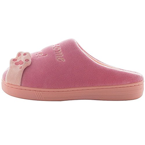 Chat Chaussons Shoes Chaud Slipper Printemps Coton Chic House Femmes Minetom A Peluche Rose Hommes Ptqzaw8