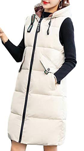 Long Jacket Vest Beige Thickened EKU Down Casual Hooded Women Coat 8FwFg6aXq