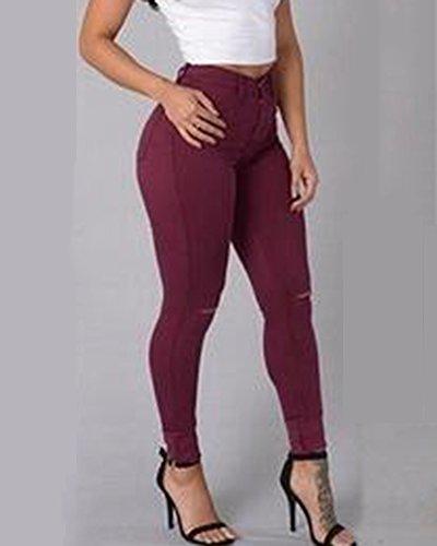 Genoux Vin Casual Denim Legging Taille Pantalons Jean Skinny Trou Rouge Femme Haute Stretch aBqHU5wU