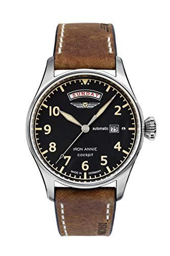 Iron Annie Cockpit Automatic Watch Exhibition Back 42mm Case Black Dial 5164-2 ()