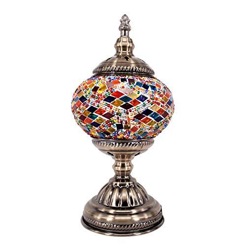 Kindgoo Turkish Mosaic Lamp Decorative Handmade Unique Glass Bedside Table Lamp Led Bulb Included (Multi-colored1) (Small Lamp Decorative)