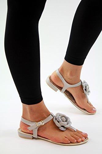 de fleur d'été confortables cheville plates sangle bout gris chaussures femmes bout sandales Nouvelles vFxqZYxwt