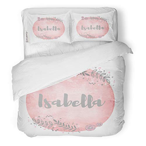 Semtomn Decor Duvet Cover Set King Size Pink Announcement Girl Name Isabella Lettering Cute Floral Pattern Watercolor Avatar 3 Piece Brushed Microfiber Fabric Print Bedding Set Cover ()