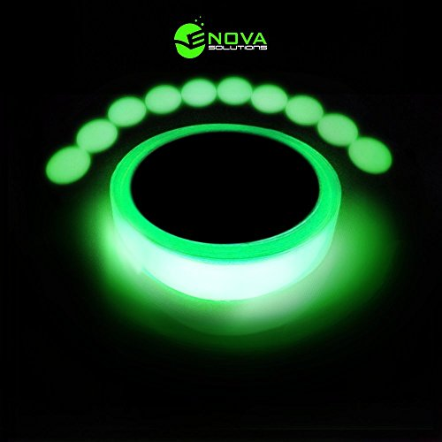 Glow In The Dark Tape - Bright Long Lasting Premium Quality Glow Tape - 10 BONUS Glow in the Dark Dots for Hazard and General Marking - 30 ft long 1 inch wide