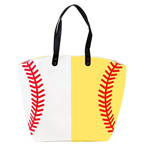 Me Plus Sports Baseball-Softball Design Tote Hand Bags/Fashion Shoulder Bags/X-Large 21 IN. - Bags Softball Baseball