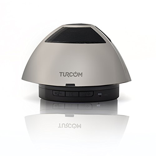 Turcom Bluetooth Speaker Portable Wireless Mobile Mini Speaker, 5W Dual Coil Driver, 360 Degree Sound, Enhanced Bass Boost, Built in Mic, 3.5mm AUX Port, Rechargeable Battery, High-End Zinc Metal Casing, Works with Iphone, Ipad Mini, Ipad Air, 4/3/2, Ipod