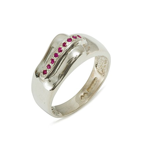 925 Sterling Silver Natural Ruby Mens Wedding Band Ring - Sizes 4 to 12 Available