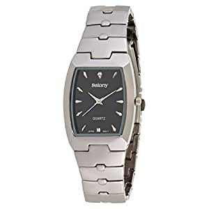 Salony Men's Black Dial Stainless Steel Band Watch - W1011B1