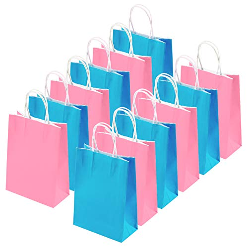 Blue Glitter Lite - Coobey 20 Pieces Kraft Paper Bags Party Favor Bags Craft Paper Bags with Handle for Birthday, Baby Shower, Wedding and Party Celebrations (Light Blue, Pink)