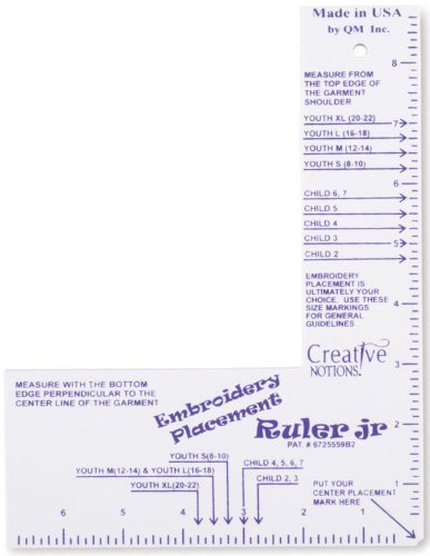 Embroidery Placement Ruler Adult Shirts Size Small – 4XL
