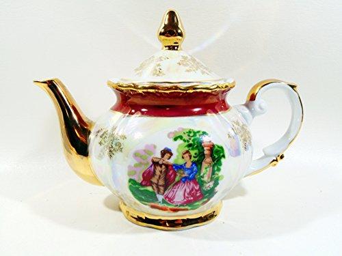 Vintage Opalescent Gold Trimmed Teapot and Lid