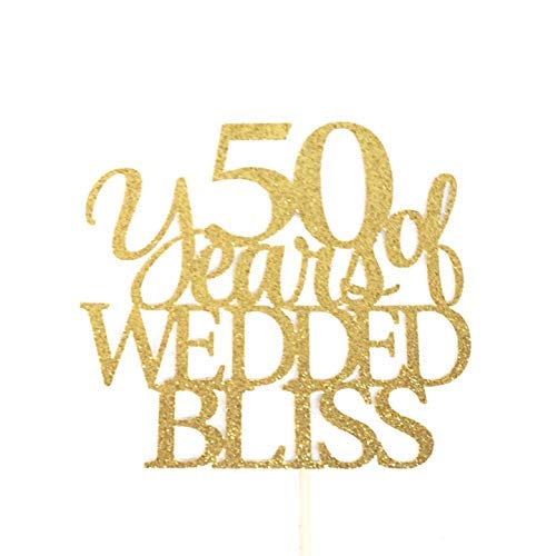 Sweeting 50 Years Of Wedded Bliss 50Th Anniversary Wedding Celebration Topper Marriage Celebration Marriage Anniversary Mr and Mrs Wedding Cake Topper Wedding Party Favors Anniversary Gifts 704043 (Wedding Bliss Cake Topper)