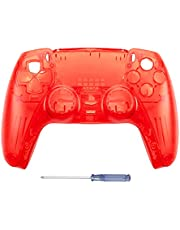GOTRUTH Replacement Shell for PS5, DIY Replacement Controller Housing Shell Case Set Front and Back Cover for Playstation 5 Dualsense Controllers (Clear Red)