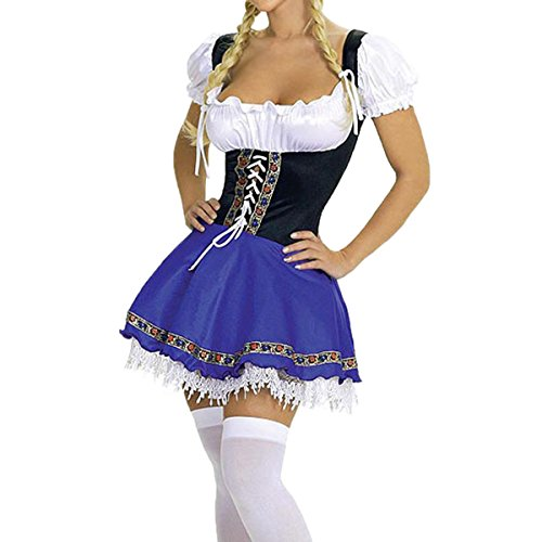 Women Oktoberfest Costume (Quesera Women's Oktoberfest Costume Bavarian Beer Girl Drindl Dress Halloween Costume, Purple,)