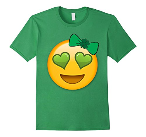 Emoji Saint Patricks Day Shirt Girls Green Heart Eyes Bow