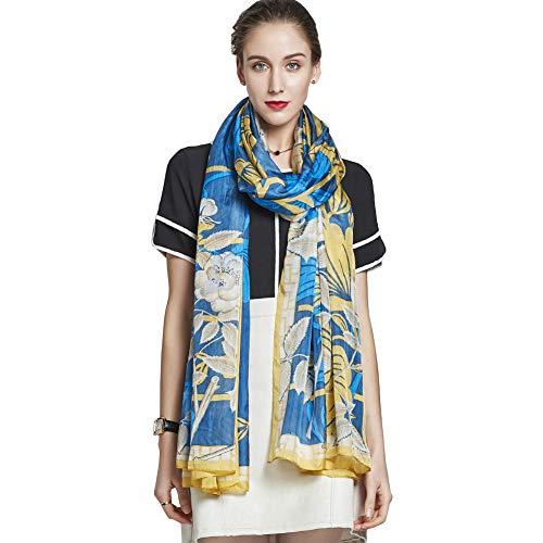 New Scarf Silk Shawl (DANA XU 100% Pure Silk Large Size Women Soft Pashmina Shawls and Wraps (Blue&Yellow))