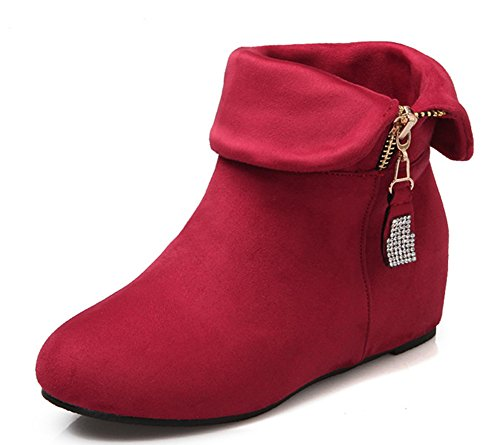 Aisun Womens Sweet Fold Rhinestone Height Ankle Boots Red KylcuscSA