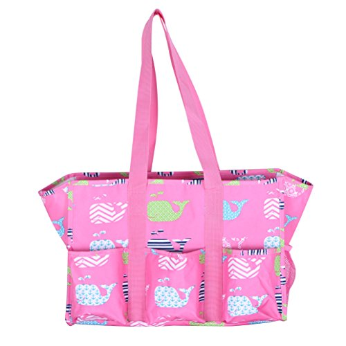 Fashionable Zipper Top Organizing Beach Bag Tote Diaper Bag Weekender (Pink Whale - Embroidery Name)