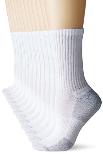 Fruit of the Loom Women's 12 Pack Sport Crew Socks,  White/Grey, Shoe: 4-10
