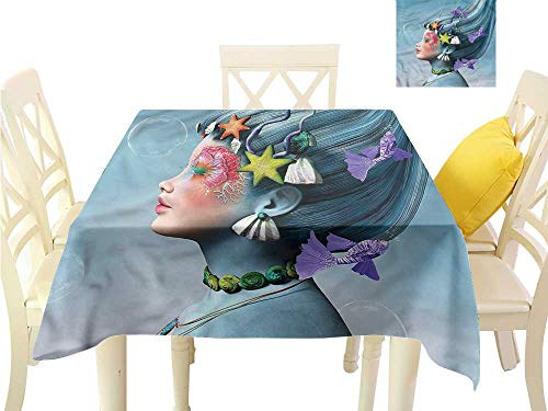WilliamsDecor Printed Tablecloth Mermaid,Woman Oceanic Hairstyle Fabric Tablecloth W 36