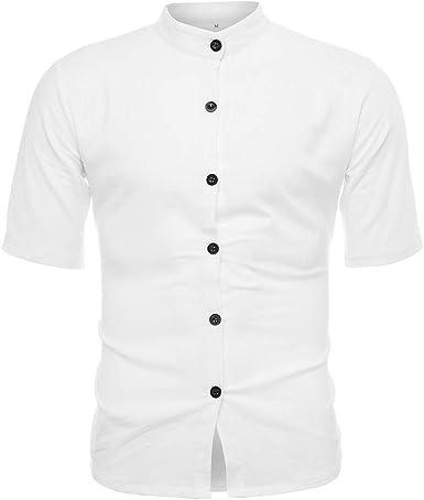 KUKICAT - Camisa de Manga Corta para Hombre, de Lino y Manga Corta, Ajustada, Cuello Mao, Talla Grande, para Verano, Informal, Informal, para Negocios y Negocios Blanco M: Amazon.es: Ropa y accesorios