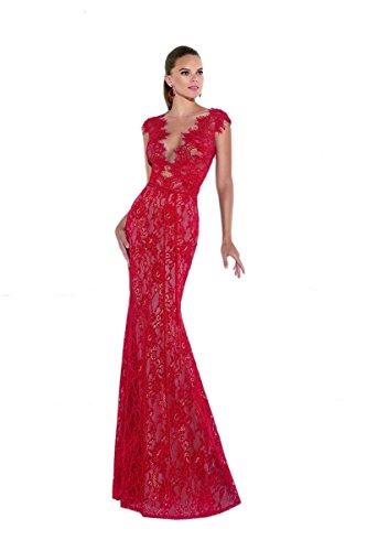 Tarik Ediz Women's Cap Sleeve Mirian Lace Gown 10 Red