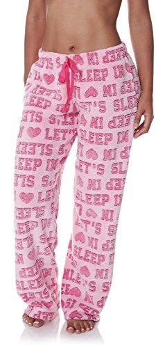 Sleep & Co. Womens Soft Plush Printed Words Long Pajama Sleepwear Pant Pink Medium