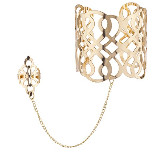 Lux Accessories Gold Tone Filigree Pattern Cutout Ring Hand Chain Cuff Bracelet