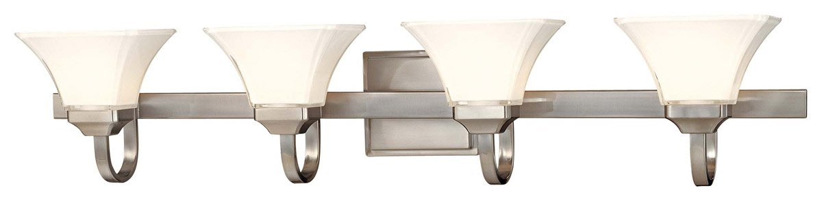 Minka Lavery Agilis 6814-84 Large Glass Reversible 4-LT 400w (8''H x 43''W) Vanity Lighting in Nickel by Minka