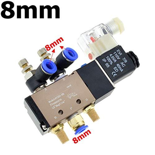 RIfengTubi Pneumatic Flow Adjust Solenoid Valve 5Way 2 Position Air Gas Magnetic Valve 12V 24V 110V 220 Coil Volt 8Mm Hose Quick Connection 8mm AC 36V
