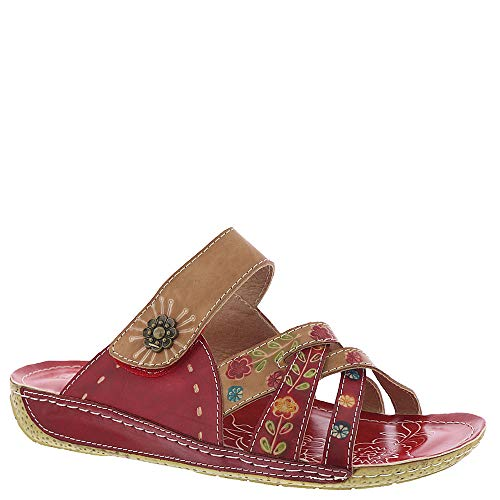 L'Artiste by Spring Step Women's Style Leigh Red Multi EURO Size 41 Leather Slide Sandal