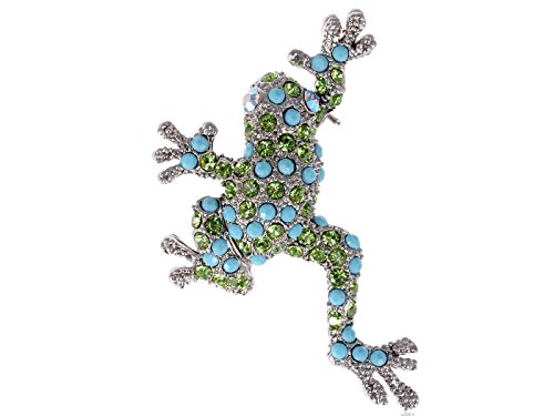 Alilang Swarovski Crystal Elements Turquoise Color Beaded Peridot Leaping Frog Pin Brooch