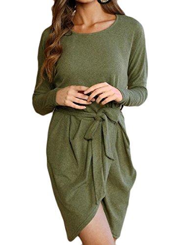 Donne Puro Verde Vestito Sbilanciato Diviso Colore Delle Palangaro Girocollo Comodi aqnp8