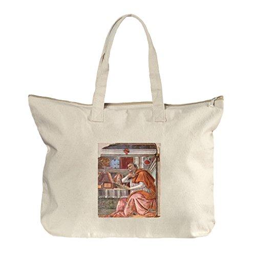 St Augustine In Prayer (Botticelli) Canvas Beach Zipper Tote Bag - Augustine St Center Shopping