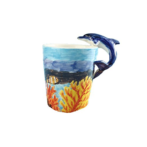 Creative Art 3D Hand-painted Cute Animals Lively Ceramic Milk Water Tea Ice Beer Cola Goblet Cup Glass Coffee Mug Pet Zoo Ocean Style with Tentacle Handle for Kids Girlfriend Home Office Decoration