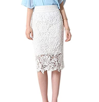 Liseaforu Womens Vintage Knee Length Lace Pencil Skirt Bodycon Skirt