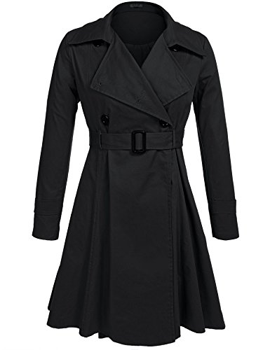 GEESENSS Women's Casual Notched Lapel Double Breasted Belted Long Trench Coat,Black,XX-Large ()
