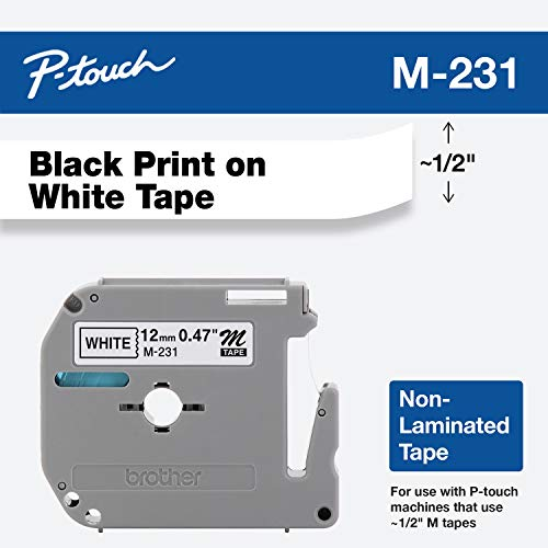 Brother Genuine P-touch M-231 Tape, 1/2' (0.47') Standard P-touch Tape, Black on White, for Indoor Use, Water Resistant, 26.2 Feet (8M), Single-Pack